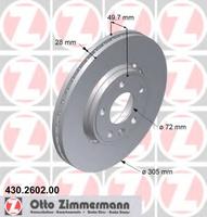 Тормозной диск ZIMMERMAN 430.2602.20